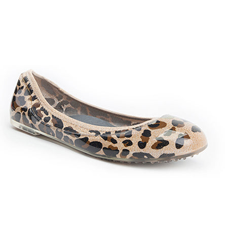 ja-vie shimmering gold leopard jelly flats shoes