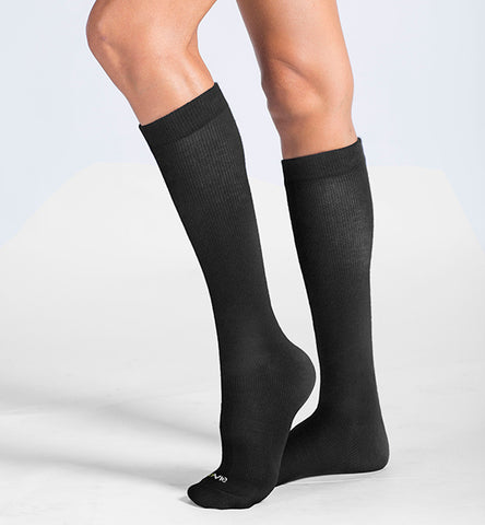 Cotton Medium Moderate Graduated Compression Socks, 3 packs/Classic Black-Black-Navy