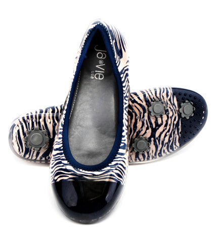 Ja-vie Zebra Navy/Sand Animal Print Flats Shoes