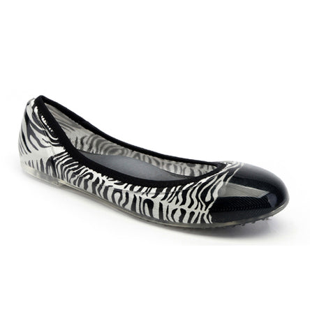 ja-vie zebra black/white animal print jelly flats shoes