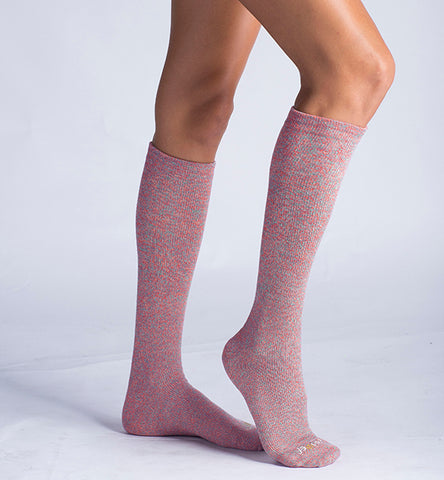 ja-vie Cotton Medium Moderate Graduated Compression Socks, 3-pack Multicolor Pink