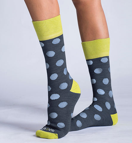 Merino Wool Relaxed Fit Socks, Heather Blue Dots