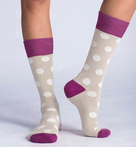 ja-vie Merino Wool Relaxed Fit Socks, Khaki Dots