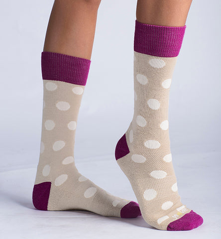 ja-vie Merino Wool Relaxed Fit Socks 2-pack Grey, Khaki Big Dots