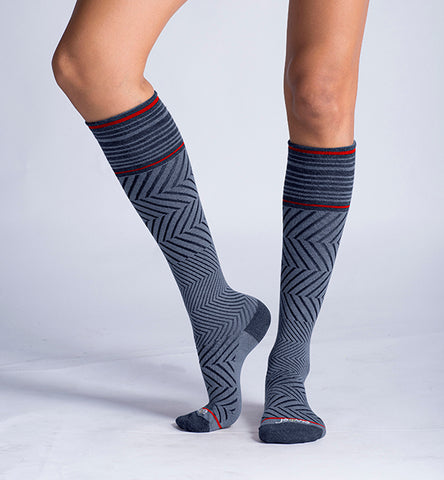 ja-vie Compression Socks Merino Medium Moderate Graduated Zig-Zag , Denim (15-20mmHG)
