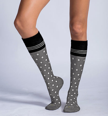 ja-vie Cotton Medium Moderate Graduated Compression Socks, Grey White Dots (15-20mmHG)