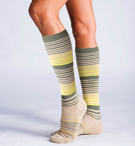 ja-vie Cotton Medium Moderate Graduated Compression Socks, 3-pack Multicolor Stripes