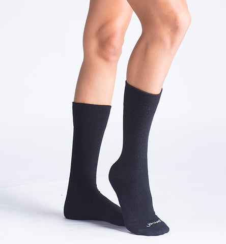 ja-vie Merino Wool Bamboo Crew Socks 3-Pack, Black
