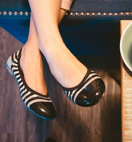 ja-vie silver/black rugby stripe jelly flats shoes