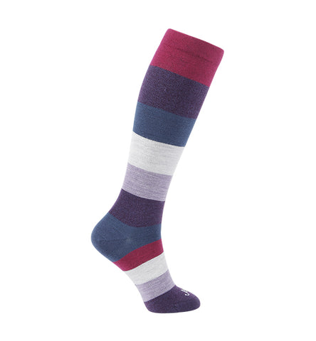 ja-vie 75% Merino Wool Ultra Soft 15-20mmHg Graduated Compression Socks, Magenta Purple Colorblock