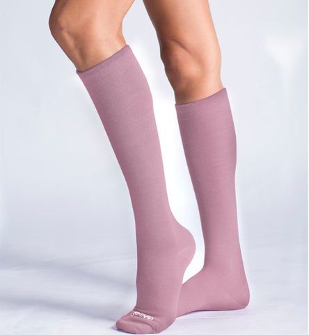 ja-vie 80% Merino Wool Ultra Soft 15-20mmHg Graduated Compression Socks, Rose Pink