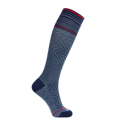 ja-vie 76% Merino Wool Graduated Compression Socks, Zig-Zag, Denim (15-20mmHg)