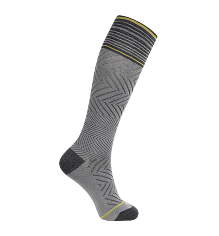 ja-vie 76% Merino Wool Graduated Compression Socks, Zig-Zag, Heather Grey (15-20mmHg)