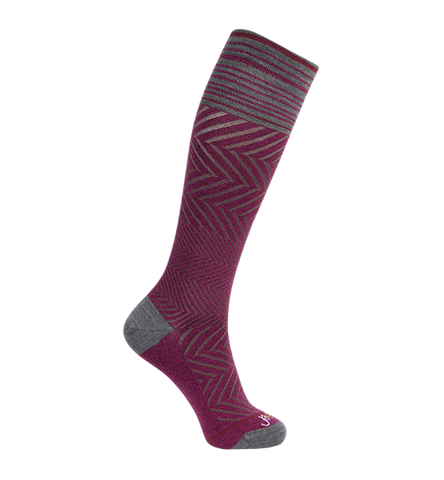 ja-vie Compression Socks Merino Medium Moderate Graduated Zig-Zag , Fuchsia (15-20mmHG)