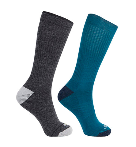 Merino Wool Relaxed Fit Socks 2 packs/ Dark Grey-Teal