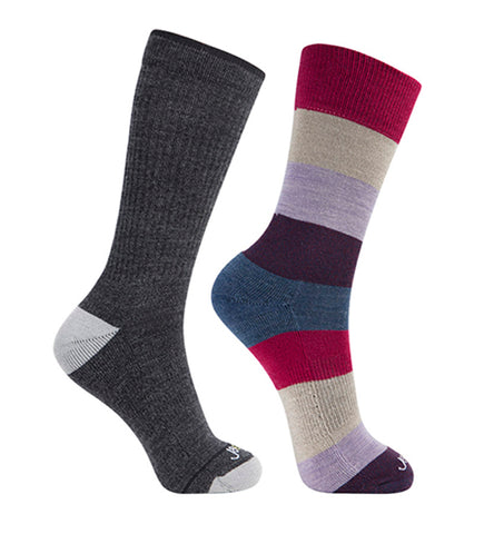 ja-vie Merino Wool Relaxed Fit Socks 2-pack Grey, Red Colorblock