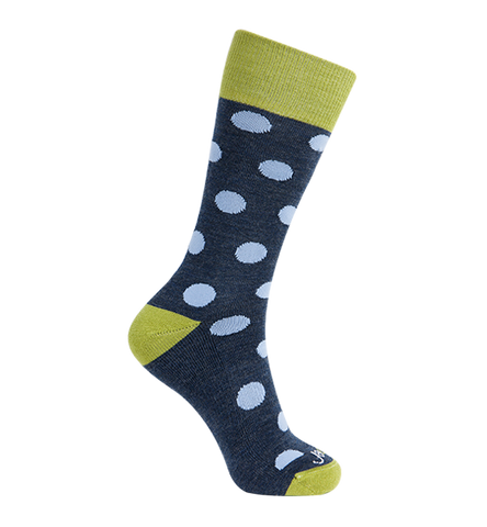 ja-vie Merino Wool Relaxed Fit Socks, Heather Blue Dots