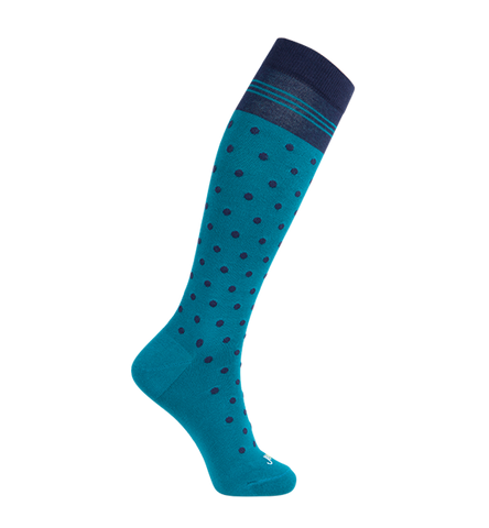 ja-vie Cotton Medium Moderate Graduated Compression Socks, Teal Navy Dots (15-20mmHG)