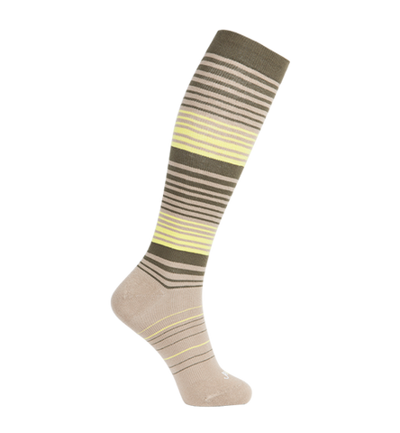 ja-vie Cotton Medium Moderate Graduated Compression Socks, Khaki Olive Stripes (15-20mmHG)