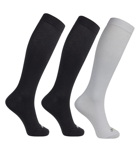 ja-vie Modal Medium Moderate Graduated Compression Socks 3-Pack Black, White