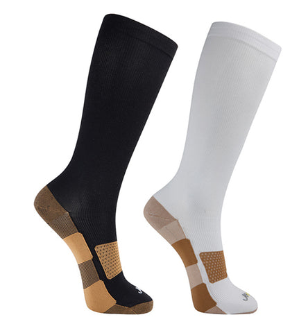 ja-vie Copper Medium Moderate Graduated Compression Socks 2-pack,Black/White