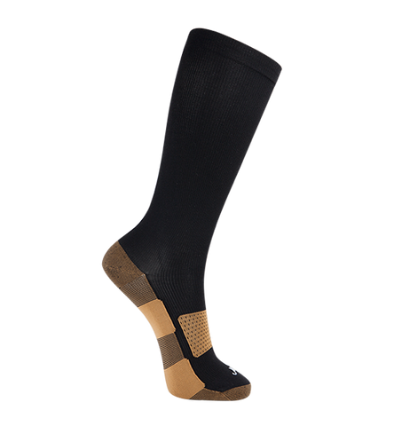 ja-vie Copper Medium Moderate Graduated Compression Socks, Black (15-20mmHG)