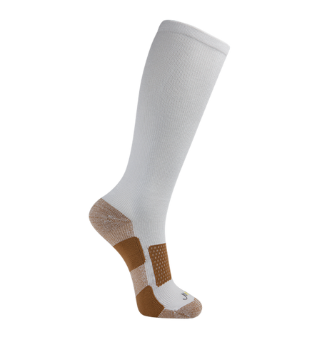 Copper Bamboo Medium Moderate Graduated Compression Socks, White(15-20mmHG)
