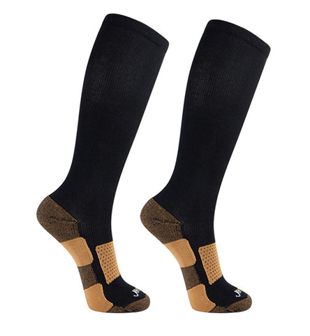 Copper Bamboo Medium Moderate Graduated Compression Socks 2 packs/Black-Black