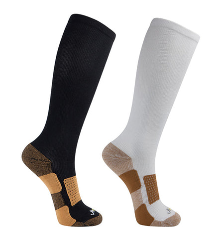 Copper Bamboo Medium Moderate Graduated Compression Socks 2 packs/Black-White