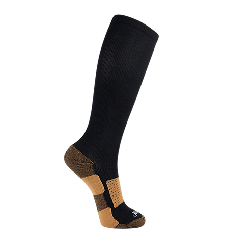 Copper Bamboo Medium Moderate Graduated Compression Socks, Black(15-20mmHG)