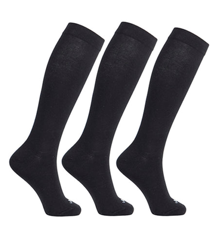 ja-vie Cotton Medium Moderate Graduated Compression Socks, 3-pack Black