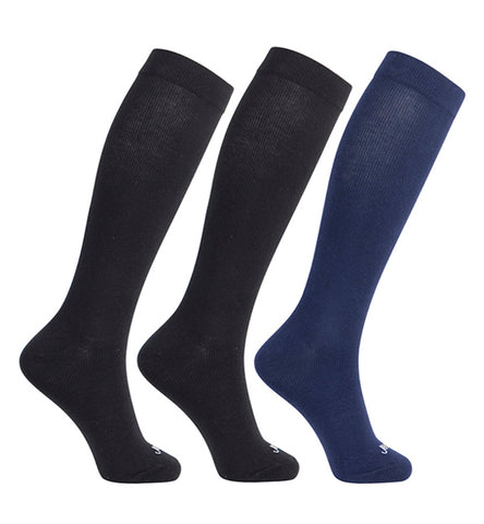 ja-vie Cotton Medium Moderate Graduated Compression Socks, 3-pack Black, Navy