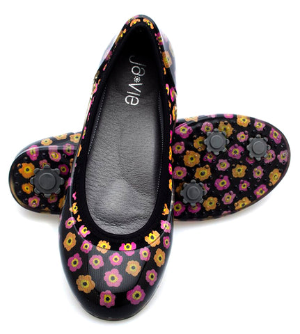 ja-vie poppy floral black jelly flats shoes