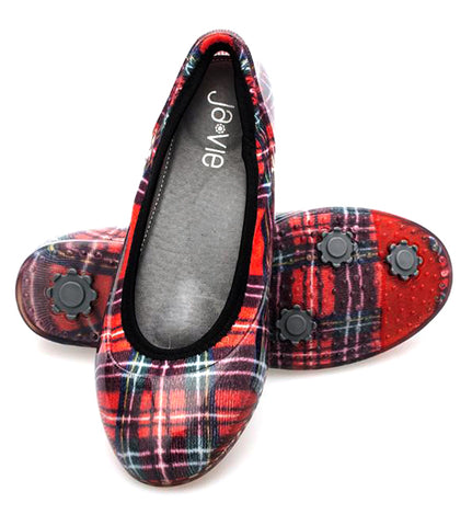 ja-vie red plaid jelly flats shoes