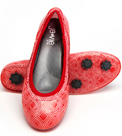 ja-vie red/white mosaic Print jelly flats shoes