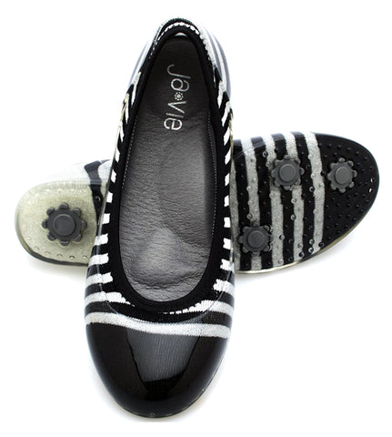 Silver/Black Rugby Stripe Flats