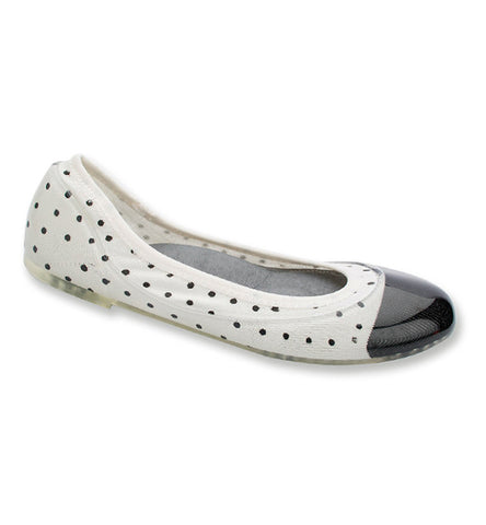 ja-vie white/black dot jelly flats shoes