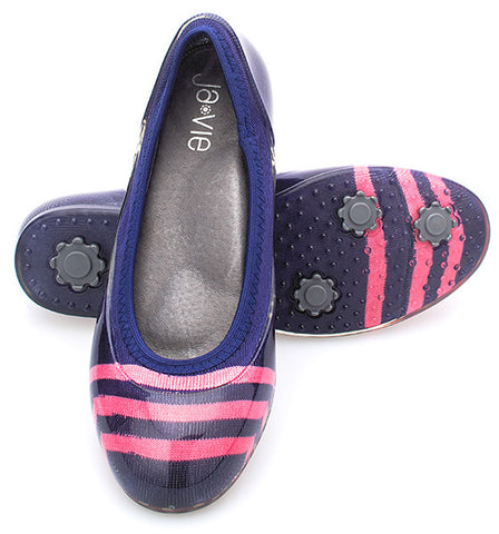 ja-vie navy/pink stripe jelly flats shoes