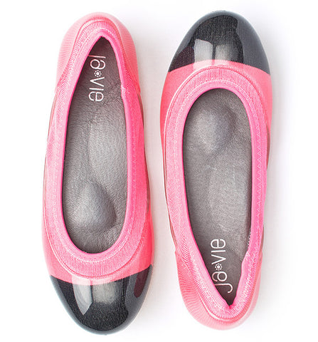 ja-vie bright pink/black jelly flats shoes