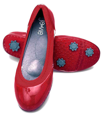 ja-vie true red jelly flat shoes