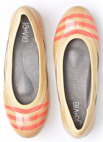 Sand/Coral Stripe Flats