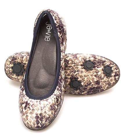 ja-vie sand/charcoal snake print jelly flats shoes