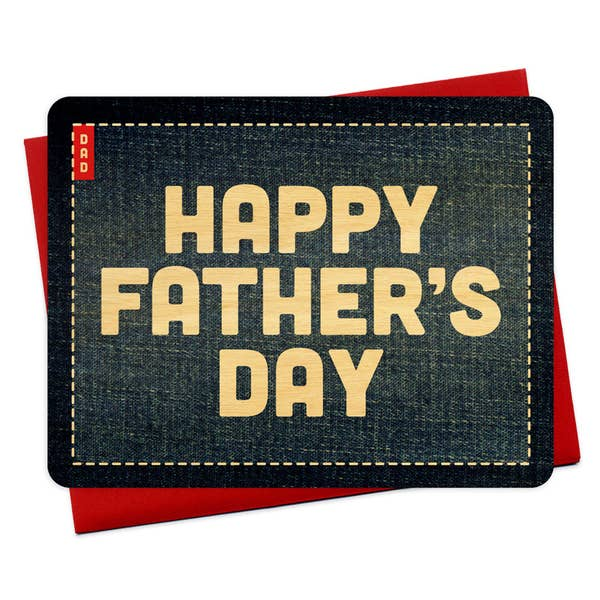 Denim Flat Wood Card - Father's Day