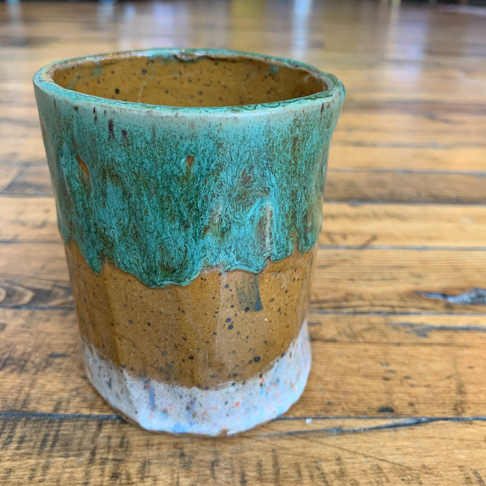 LARGE TEAL BROWN WHITE SPECKLE VASE - Blanket Fort Studio