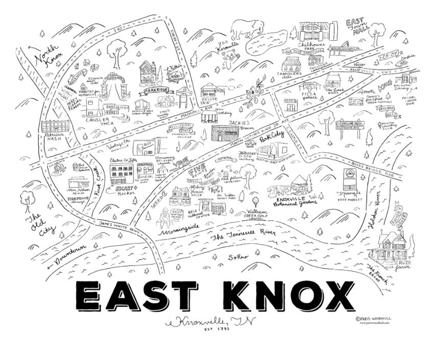 Knoxville Map Illustration - East