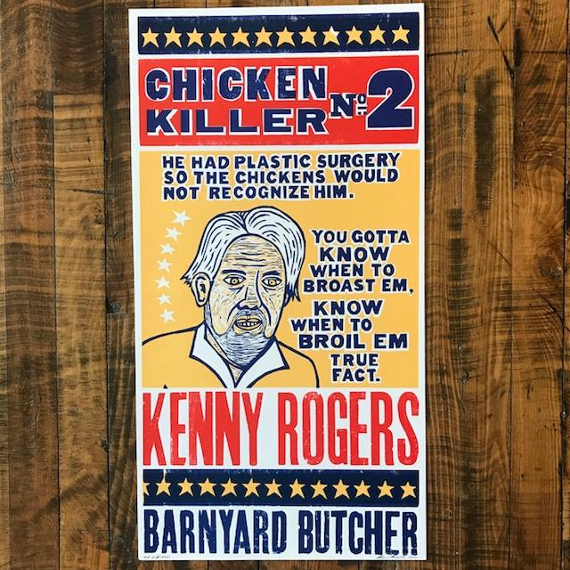 Kenny Rogers - Chicken Killer #2 - Kevin Bradley Print