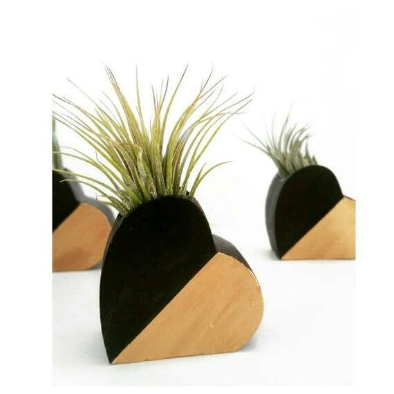 Concrete Heart Air Plant Holder - Black