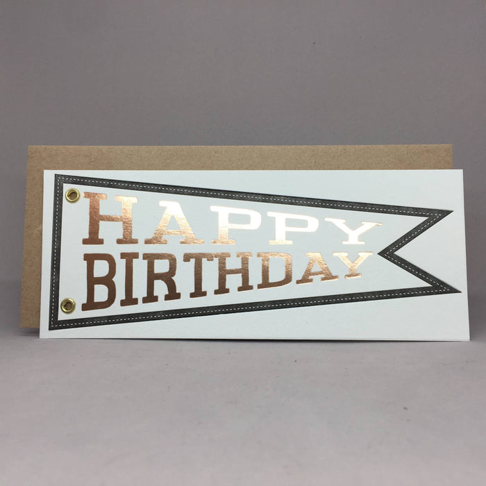 Happy Birthday Pennant (Gold Foil) - Birthday