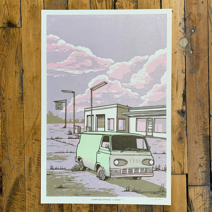 VAN AT GAS STATION - Camp Nevernice
