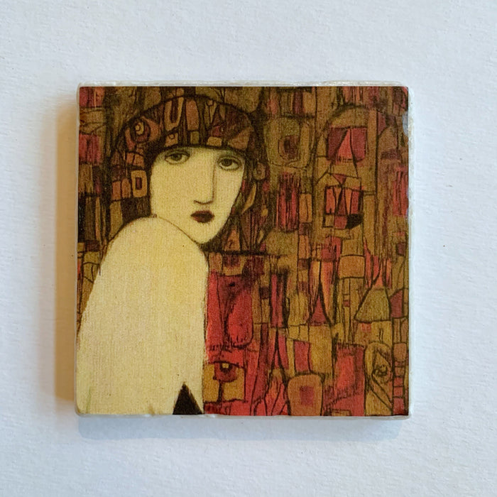 Woman in Crimson Mosaic Stone Coaster - Cynthia Markert